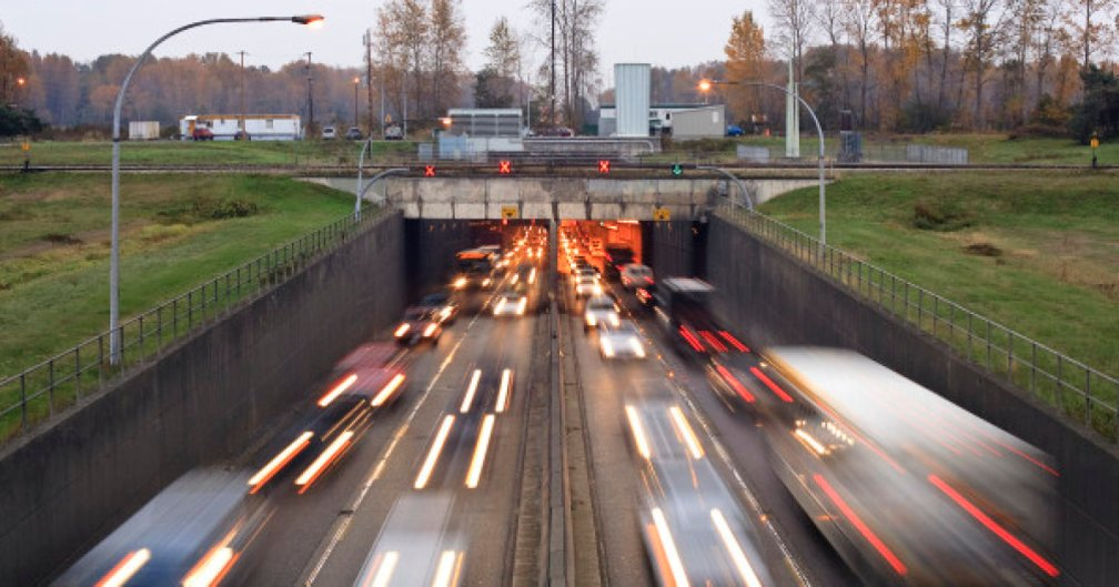 Rush hour traffic moving through the Massey Tunnel in Vancouver